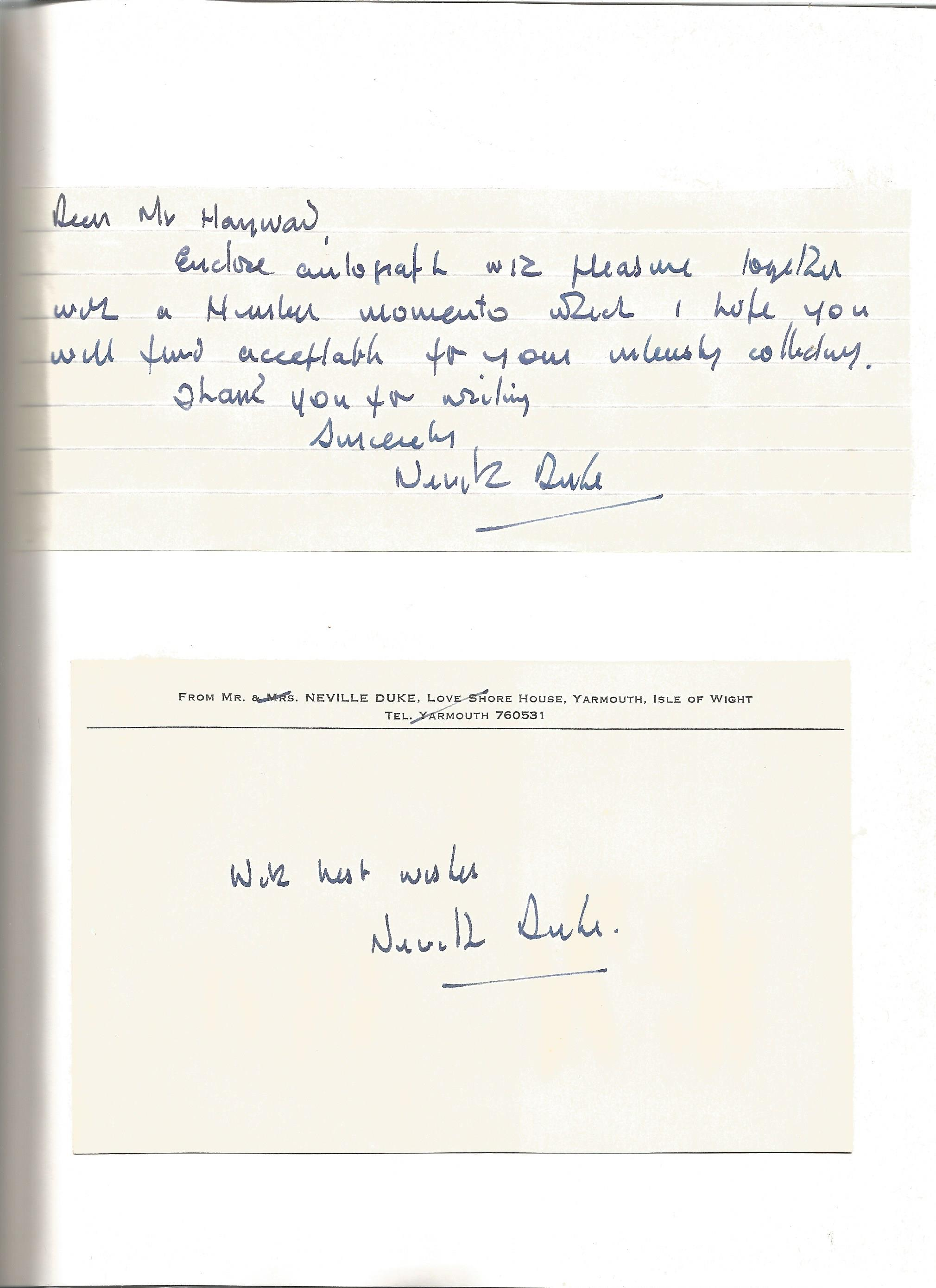 Sqn Ldr Neville Duke DSO DFC signed book hardback Hawker Hunter by Robert Jackson, two autographs, - Image 2 of 2