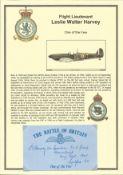 Flight Lieutenant Leslie Walter Harvey. Signed 5 x 3 inch blue card with RAF logo. Set on superb