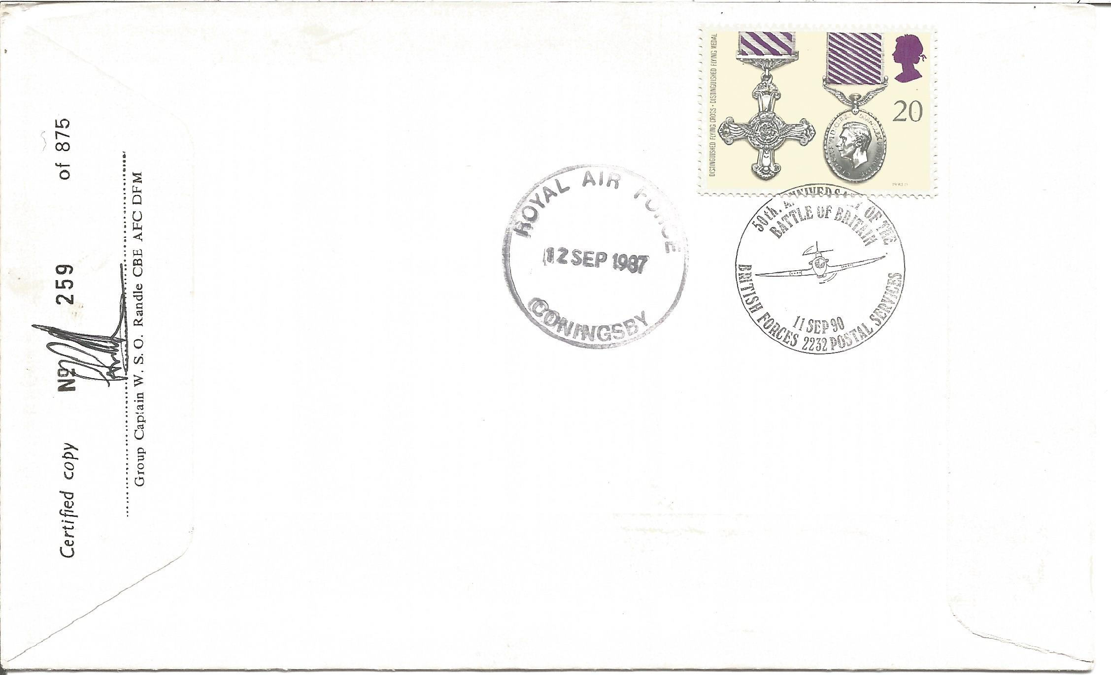 WW2 Battle of Britain multiple signed Lord Dowding RAF cover. Signed by nine fighter pilots R - Image 2 of 2