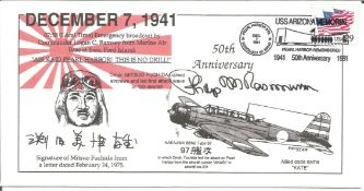 WW2 US Pearl Harbour fighter pilot Phillip Rasmussen signed 50th ann Pearl Harbour US cover. Good