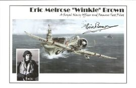 Eric Melrose Winkle Brown signed A Royal Navy Officer and Famous Test Pilot colour photo. Good