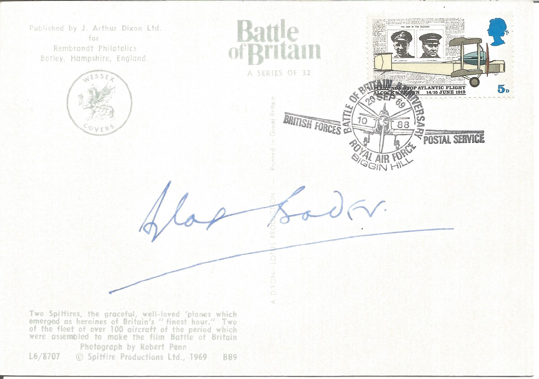Douglas Bader signed on BACK of colour postcard depicting two Spitfires date stamp Battle of Britain