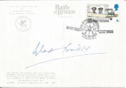 Douglas Bader signed on BACK of colour postcard depicting two Spitfires date stamp Battle of Britain