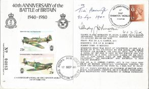 Sandy Johnson 602 Sqn and RR Tich Havercroft 92 Sqn signed FDC 40th Anniversary of the Battle of