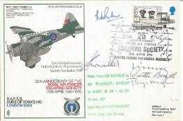 WW2 escapers multiple signed cover. Bill Randle DFM, Bryn Morgan, Scottie Brazil, Fitzbach