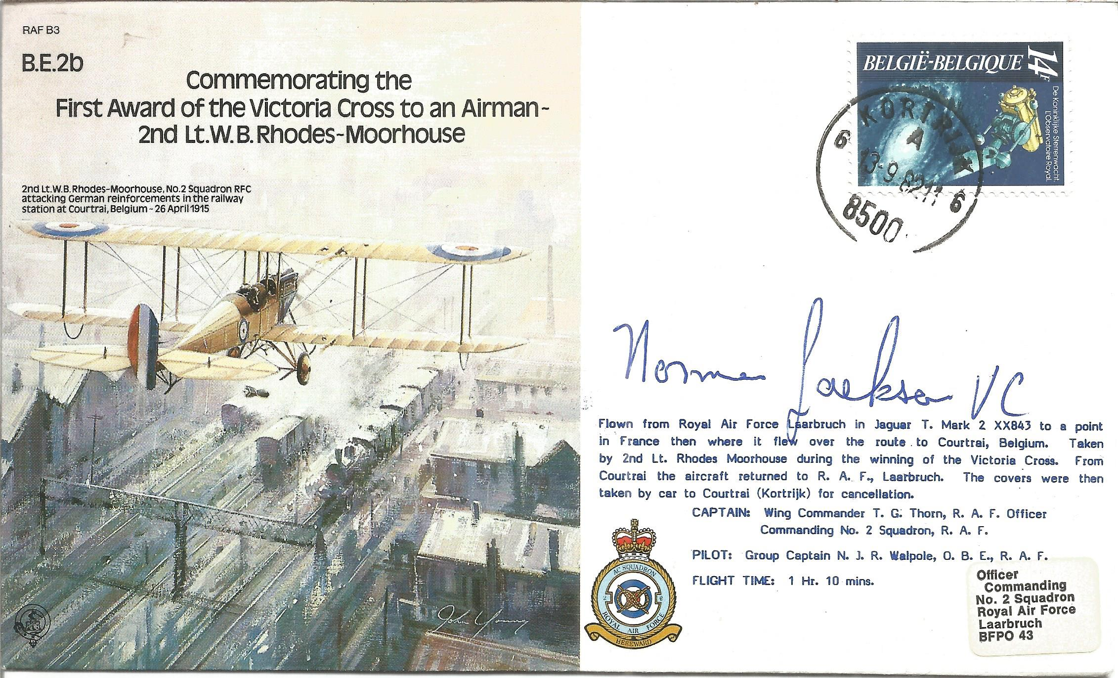 Norman Jackson VC, WW2 winner signed 1985 BE2b Bomber command cover. Good Condition. All
