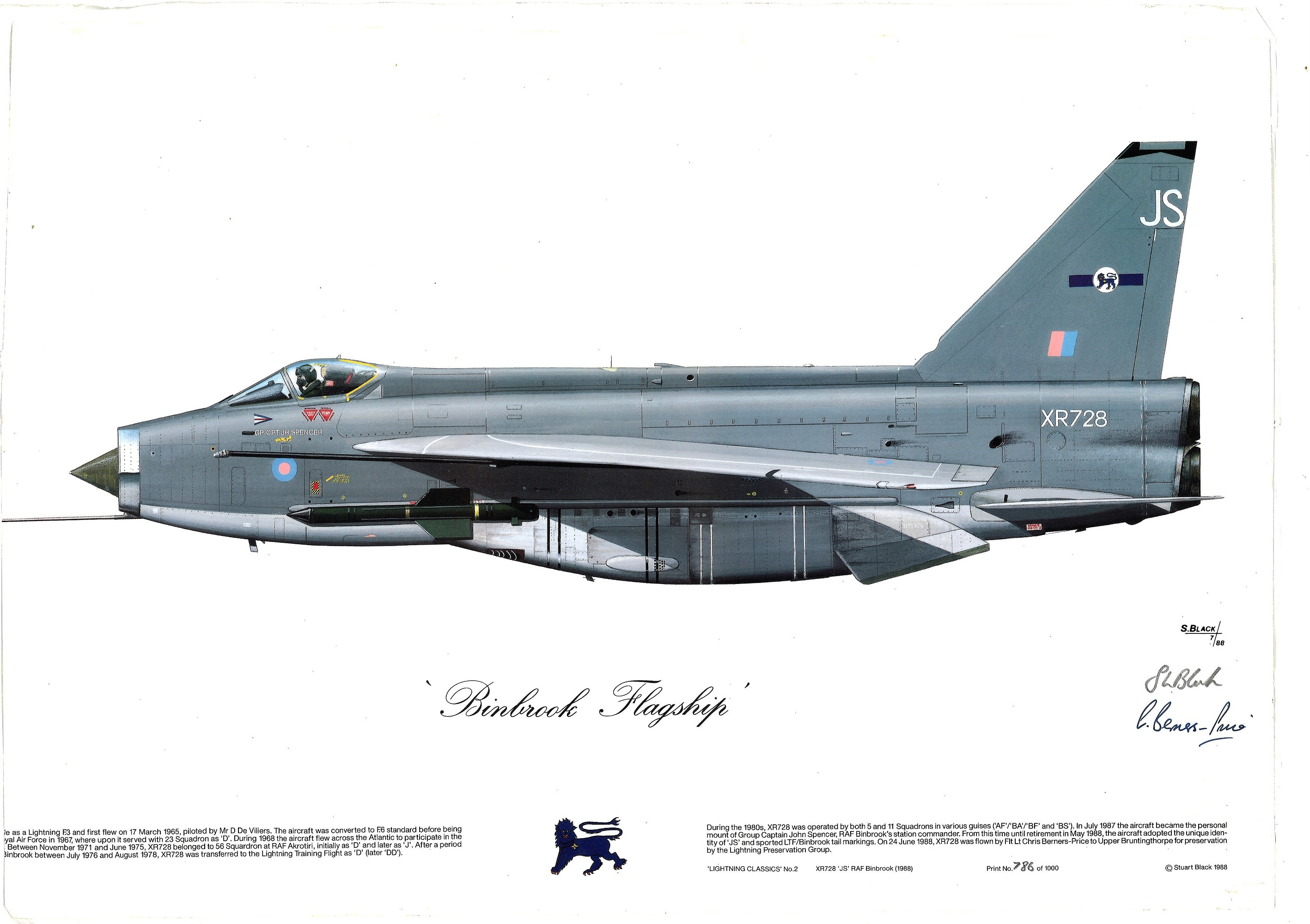 RAF Binbrook print approx 16 x 12 inches fixed thicker paper to Binbrook Flagship XR 728 EE