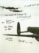 World War II Lancaster 8x6 black and white photo signed by seven bomber command veterans includes