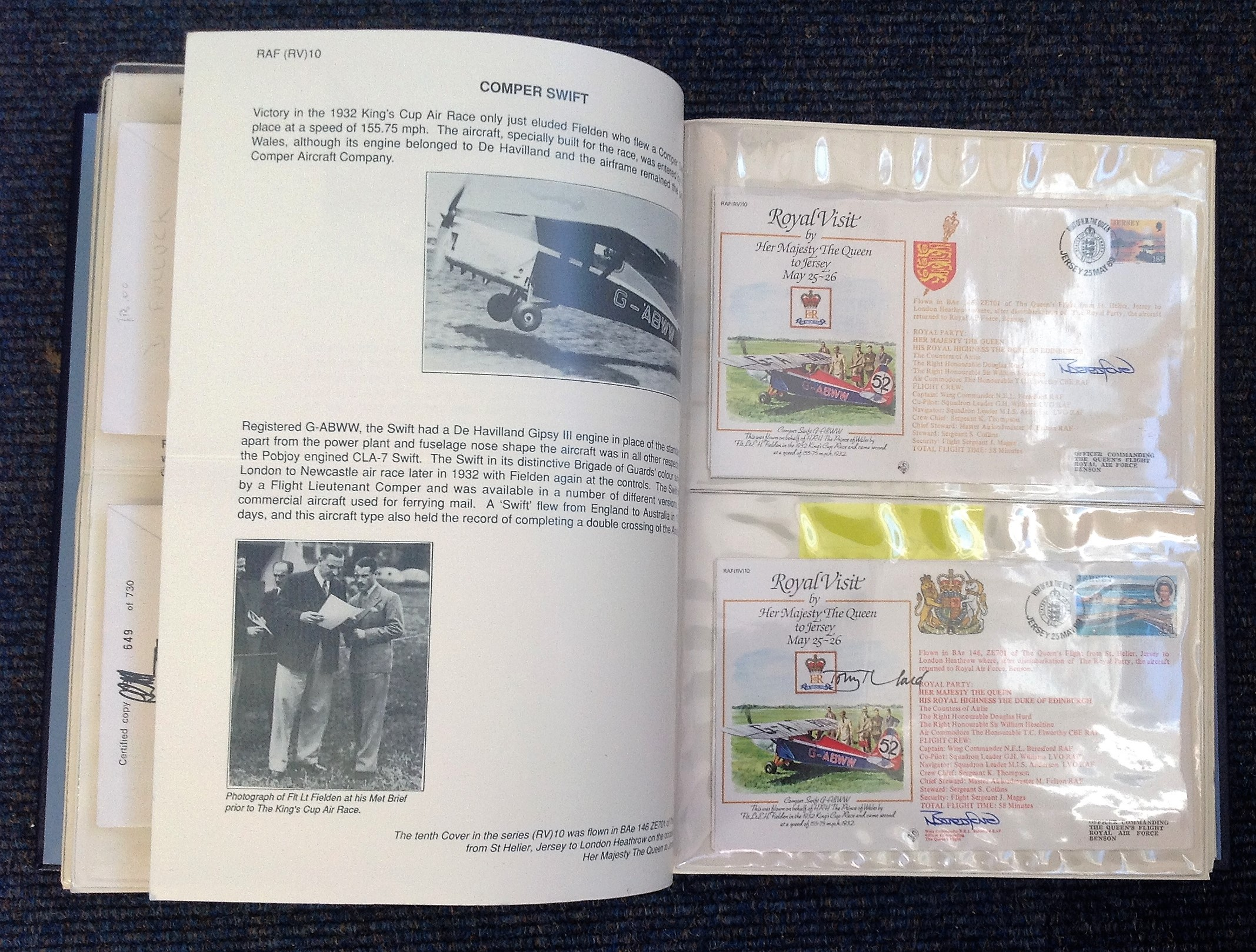 Royal Visit Queens Flight FDC collection RAF cover collection 52 pilots and VIP signed cover - Image 5 of 6