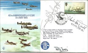 Top US WW2 ace Col. F. S. Gabreski, Col. Charles MacDonald signed 40th Anniversary of V E Day 8th