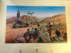 Military Print approx 32x24 RAF print titled Mercy Flight by the artist Wilfred Hardy this