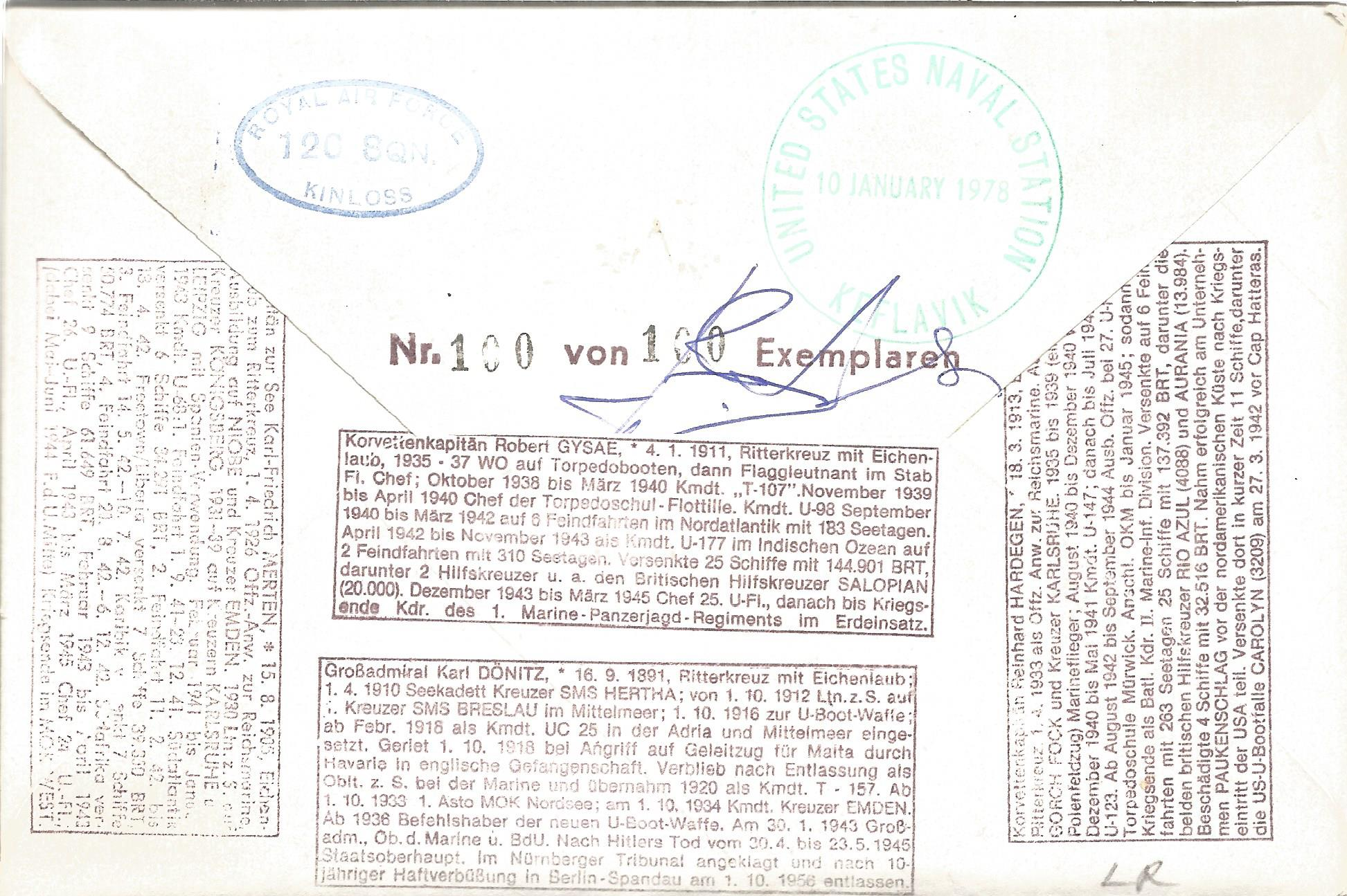 Robert Gysae, Karl Friedrich Merten, Reinhard Hardegen and Karl Donitz signed Sqn Ldr T. M. - Image 2 of 2