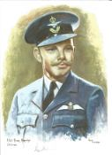F Lt Roger Morewood WW2 RAF Battle of Britain Pilot signed colour print 12 x 8 inch signed in
