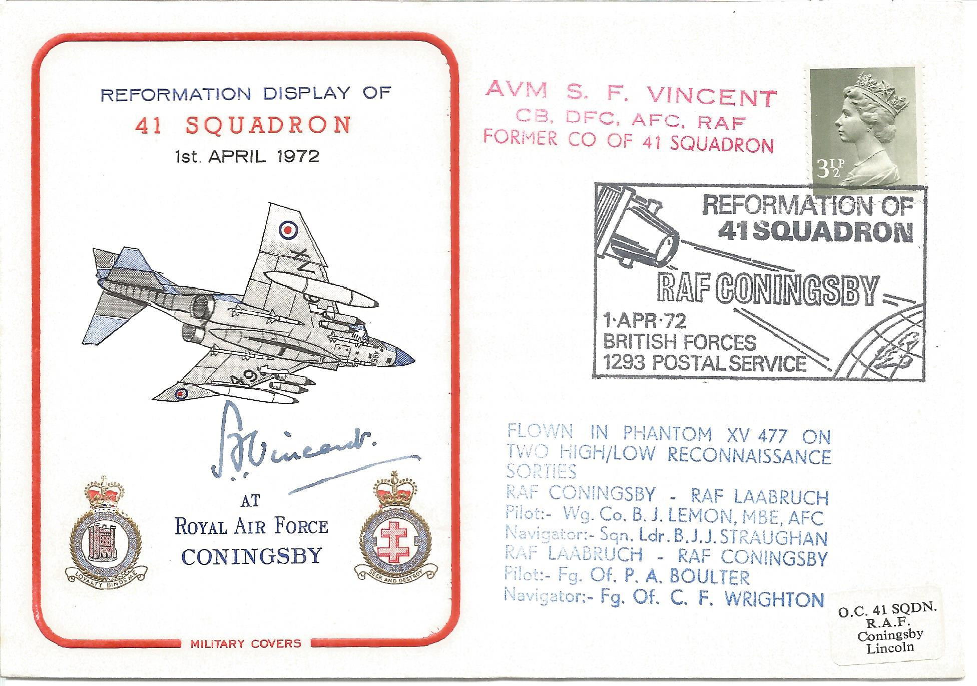 Only WW2, Great War ace AVM S. F. Vincent CB DFC AFC RAF signed Reformation Display of 41 Squadron