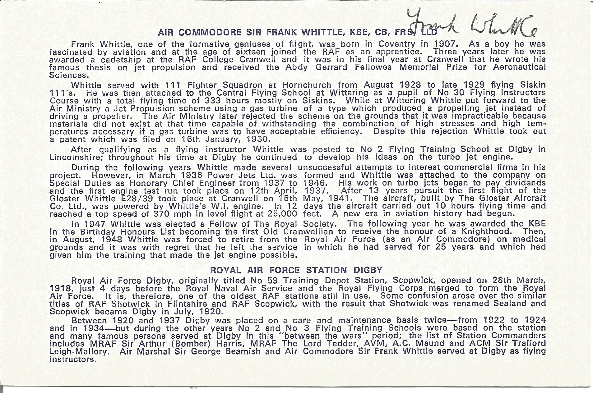 Air Cdre Sir Frank Whittle signed 6 x 4 printed biography card. Royal Air Force engineer air