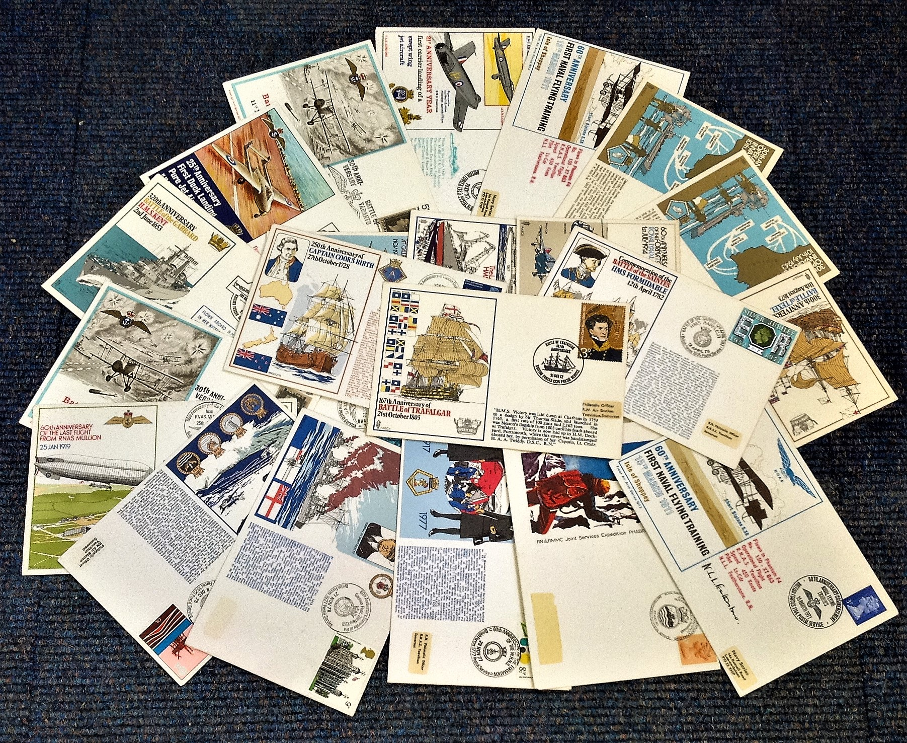 Royal Navy collection 20 interesting FDCs commemorating historic dates and events. Good Condition.
