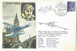Sir Alan Cobham commemorative RAFMHA3 flown FDC signed by Michael Cobham PM British Forces 1535