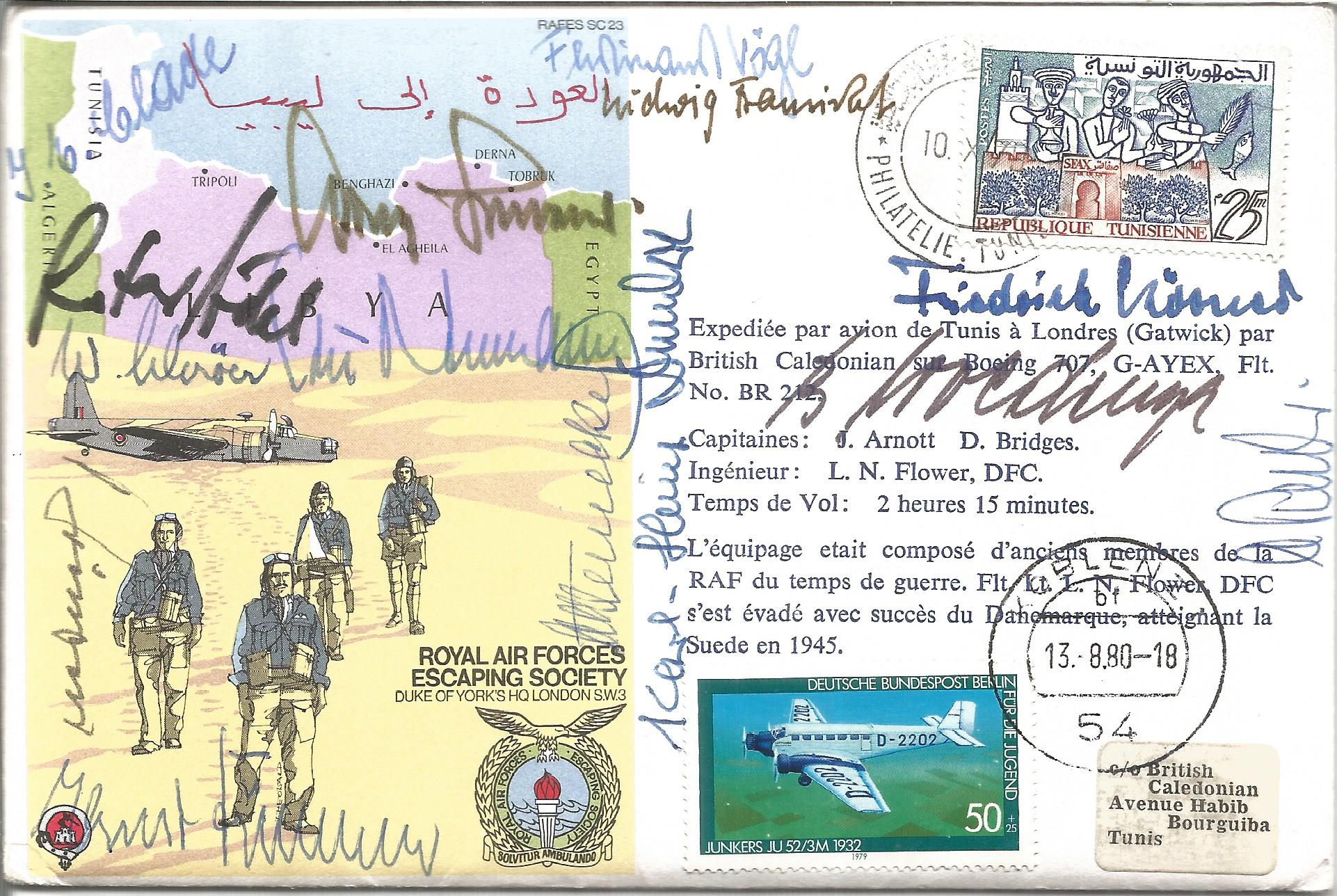 Glorious Dozen Luftwaffe aces multiple signed cover. North Africa multi signed FDC No 101 of 124.