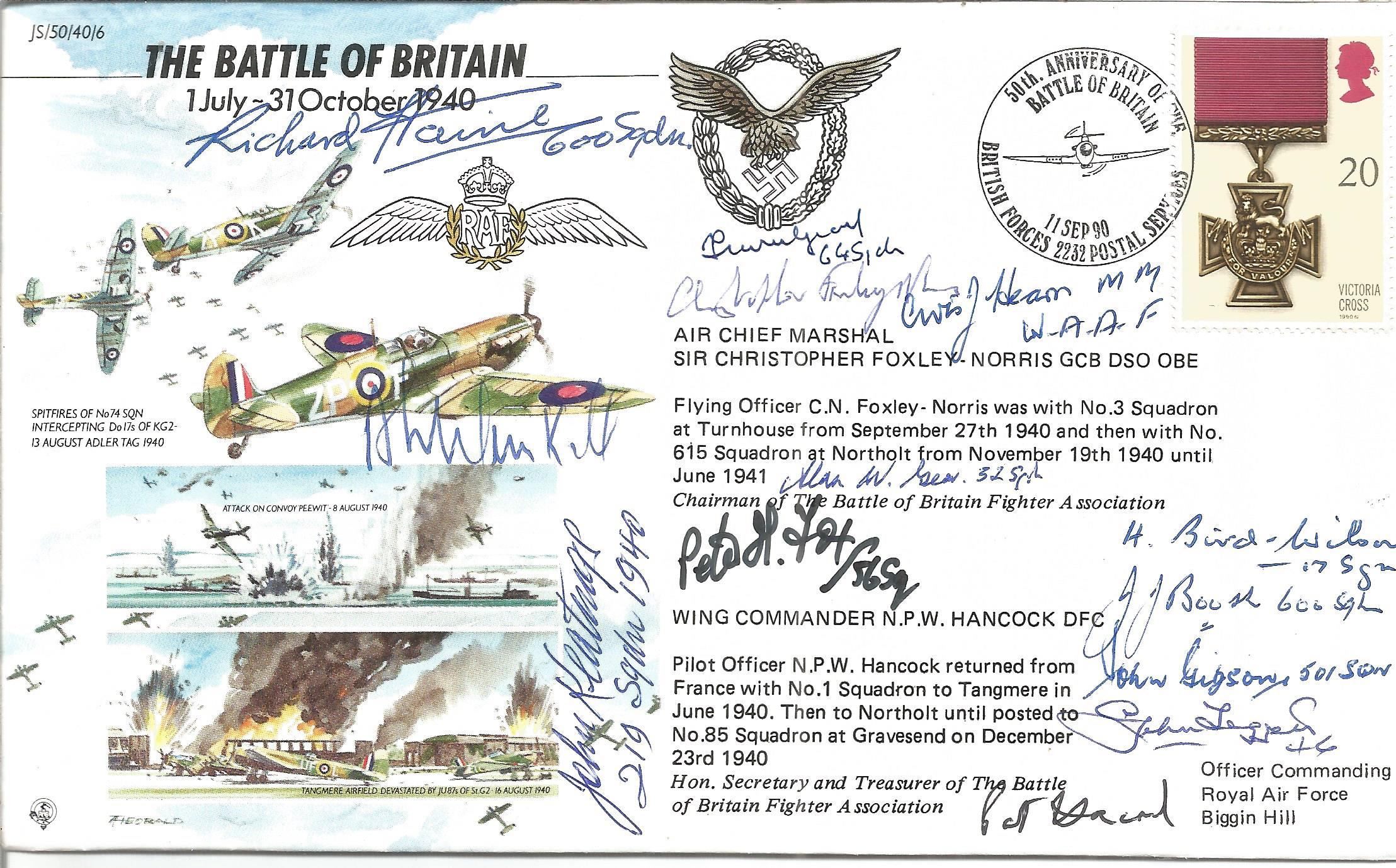 Battle of Britain 50th ann cover signed by 13 pilots. Inc Richard Haine, Archie Winskill,