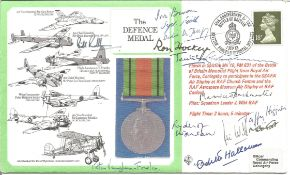 Ivor Broom, Ron Hockey, Taffy Higginson, Odette Hallowes with 8 others signed The Defence Medal