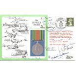 Ivor Broom, Ron Hockey, Taffy Higginson, Odette Hallowes with 8 others signed The Defence Medal