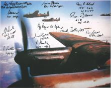 World War II Lancaster 10x8 colour photo signed by 11 bomber command veterans W O Phil Bates 149