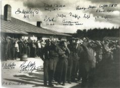 World War II 10X8 black and white photo signed by 10 bomber command and army prisoners of war