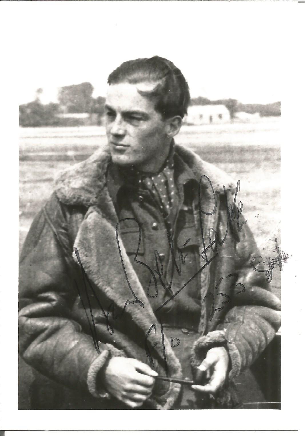 WW2 BOB fighter ace Flight Lieutenant D. Bell Salter of 253 Squadron signed 5 x 3 b w photo. Good