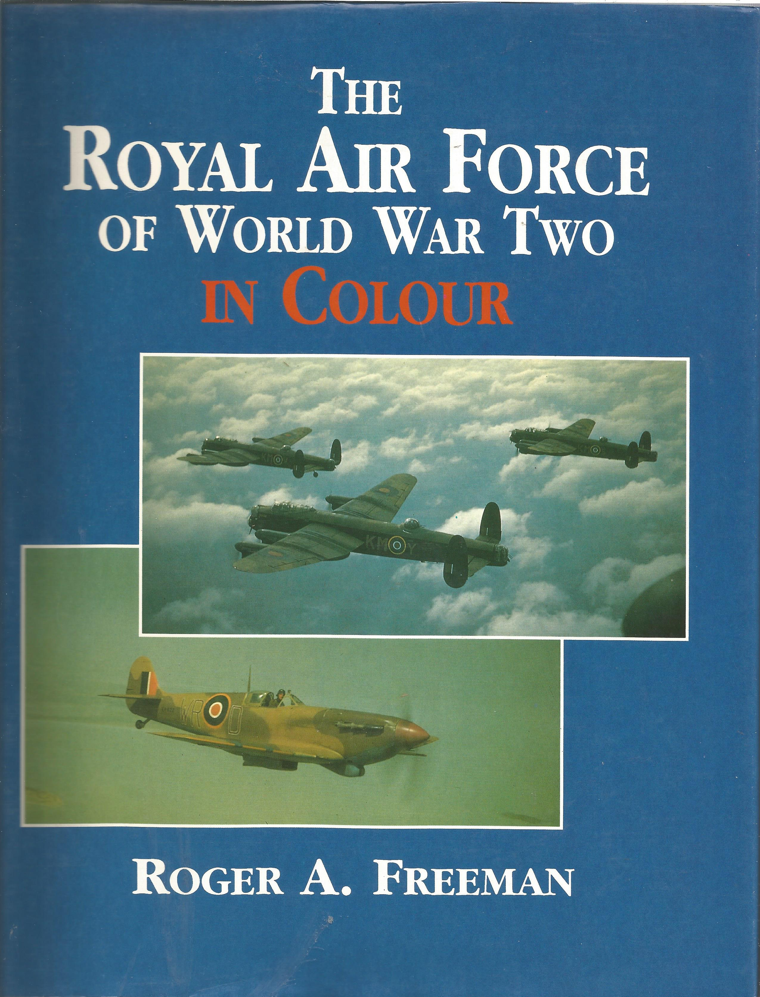 Sqn Ldr Neville Duke DSO DFC signed bookplate in The Royal Air Force of WWII Freeman, Roger hardback