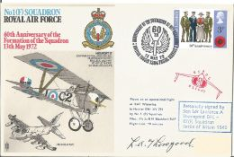 Sd Ldr Laurence A Thorogood DFC 87 (F) Squadron signed FDC No1 Squadron Royal Air Force 60th