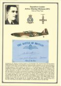 Squadron Leader Arthur Stanley Wickens DFC. Signed 5 x 3 inch blue card with RAF logo. Set on superb