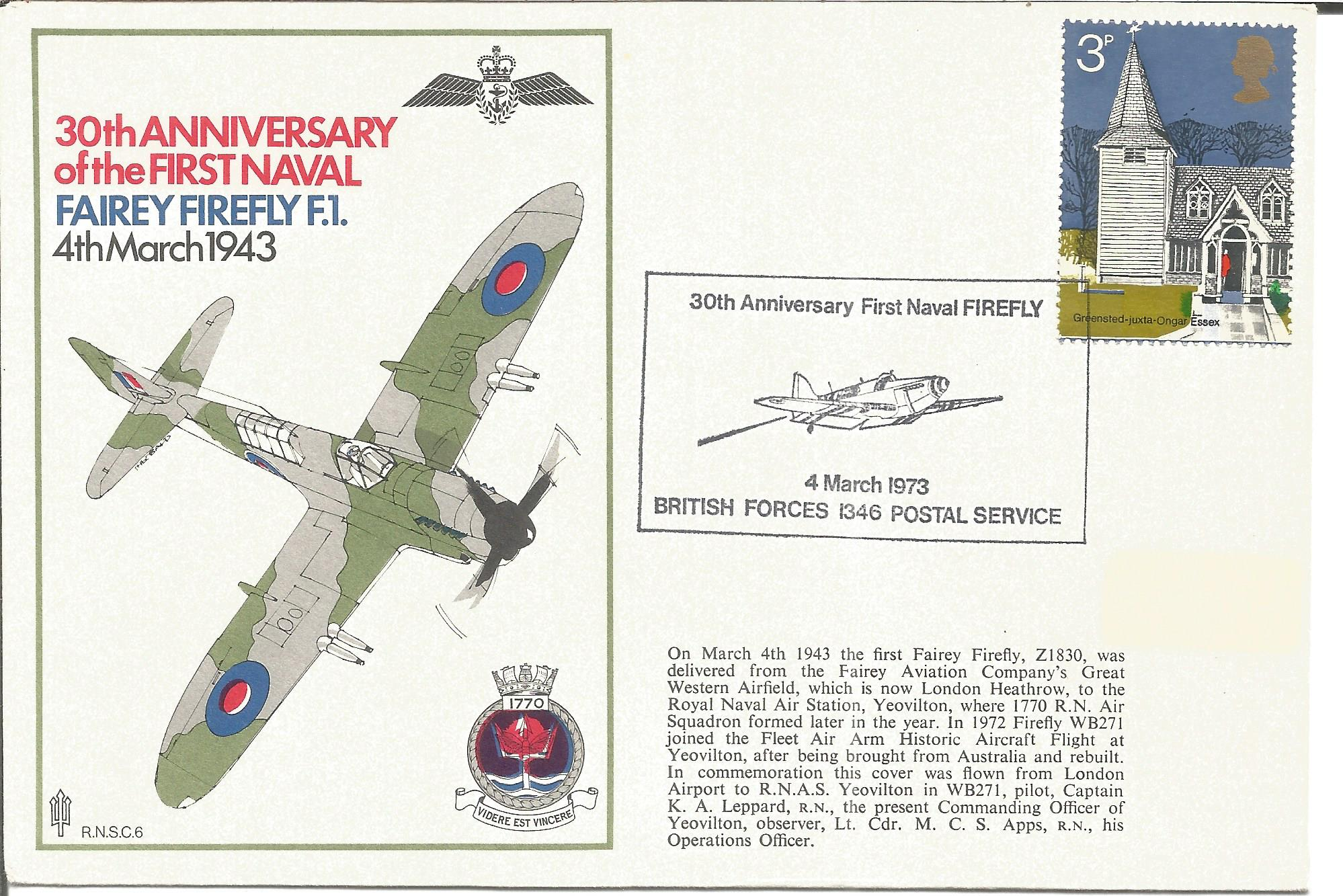 WW2 Japanese fighter ace Nobuo Ando signed on back of Navy Firefly cover. Good Condition. All