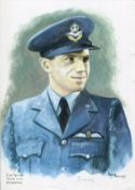 Plt Off Trevor Gray WW2 RAF Battle of Britain Pilot signed colour print 12 x 8 inch signed in