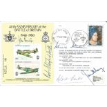 Five top Battle of Britain aces signed 40th ann cover. Signed by Douglas Bader, Johnnie Johnson,