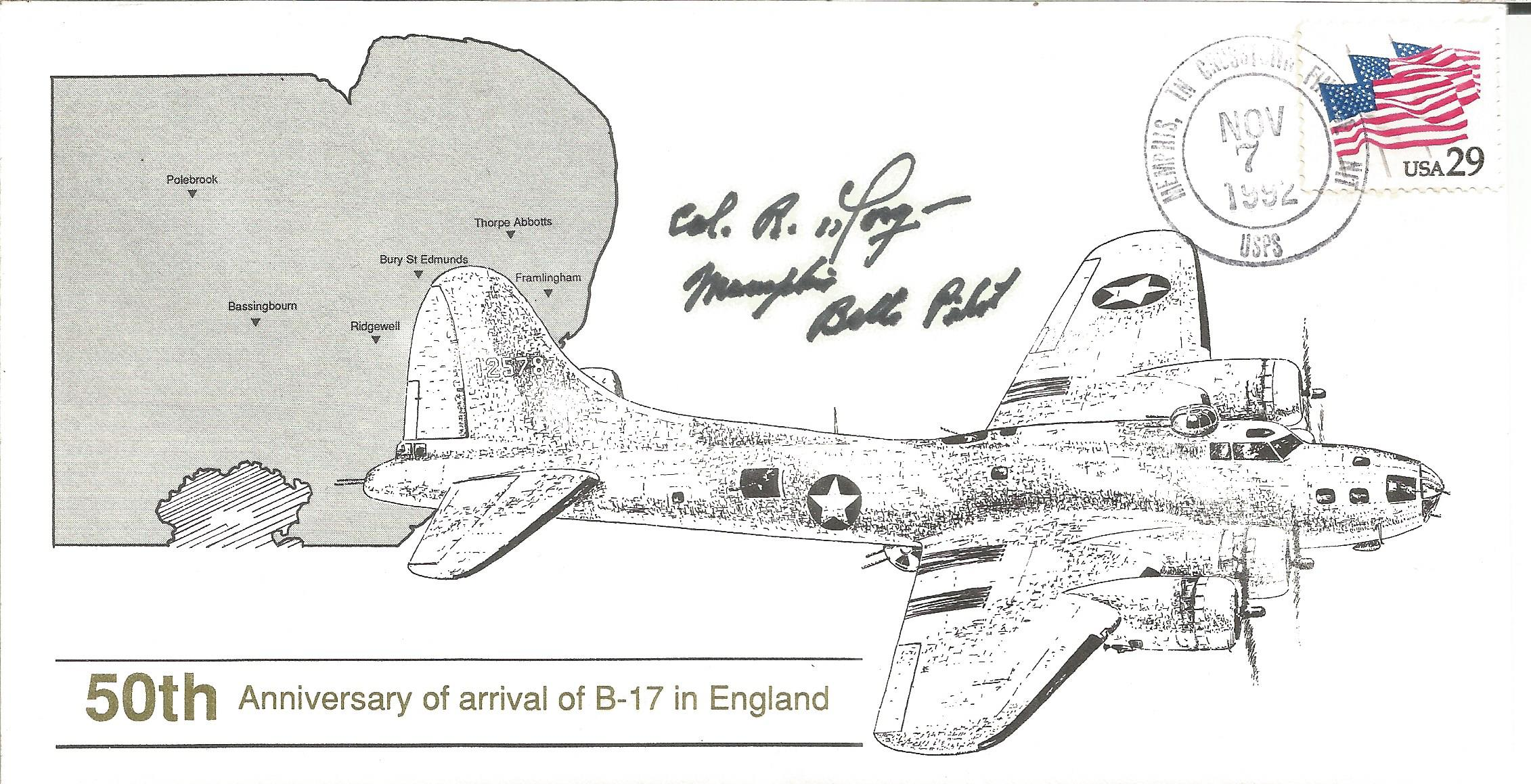 WW2 Memphis Belle pilot Robert Morgan signed 50th ann B17 Arrival in England US cover. Good