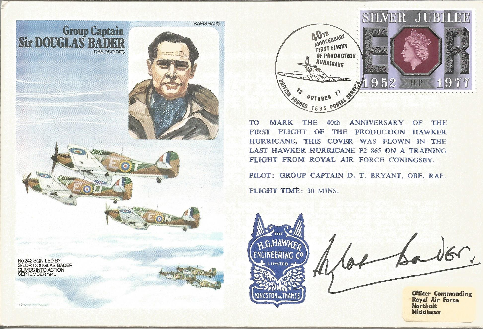 Group Captain Sir Douglas Bader CBE DSO DFC signed Douglas Bader cover No. 151 of 1295. Flown in the
