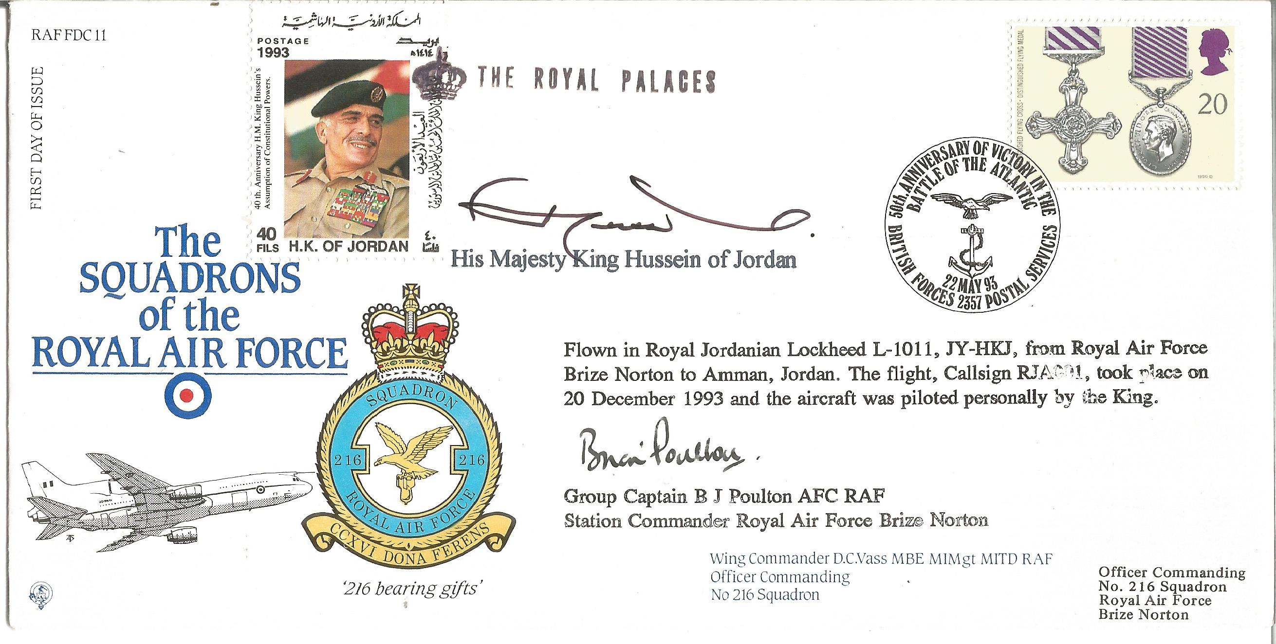 King Hussein of Jordan and Grp Cpt B. J. Poulton AFC RAF signed The Squadrons of the Royal Air Force