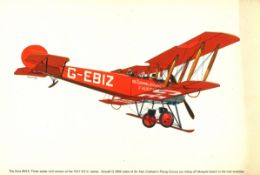 World War One 17x11 colour print picturing The Avro 504K Three Seater Civil version of the 1917 R.