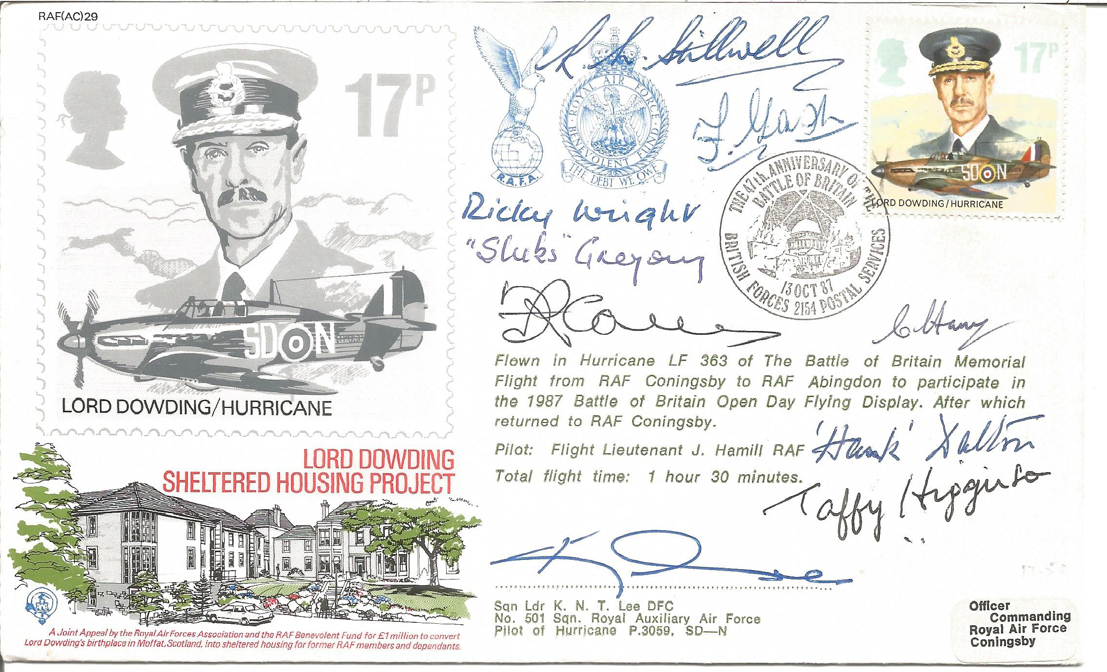 WW2 Battle of Britain multiple signed Lord Dowding RAF cover. Signed by nine fighter pilots R