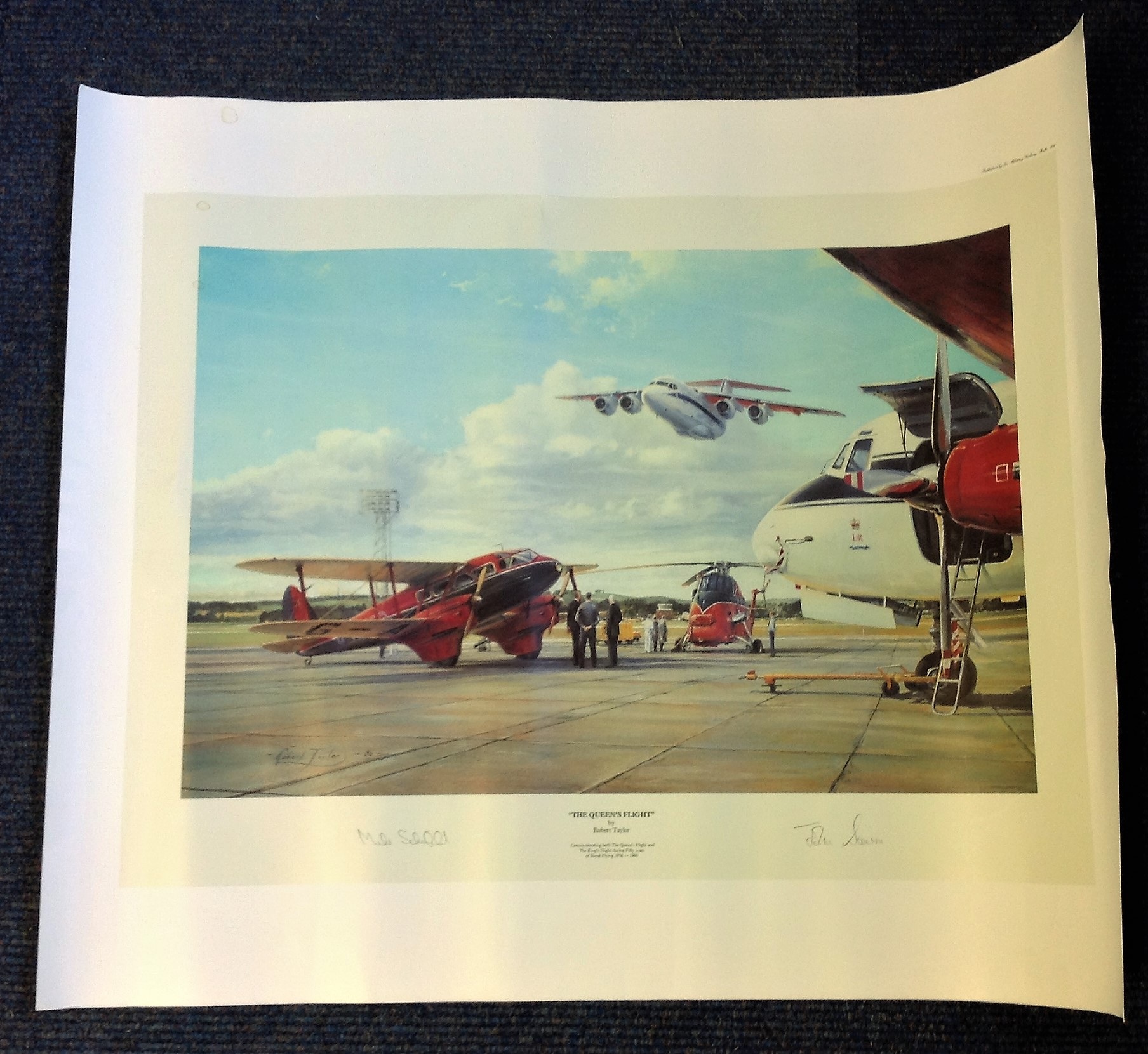 Aviation Queens Flight 24x20 print by the artist Robert Taylor and signed by John De Severne and
