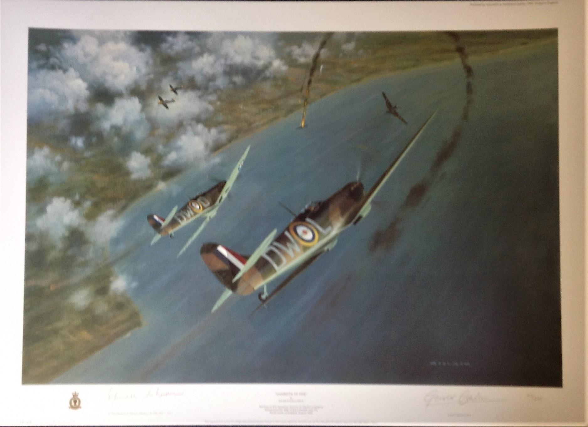 Battle of Britain Print 22x30 titled Chariots of Fire signed in pencil by the artist Gerald