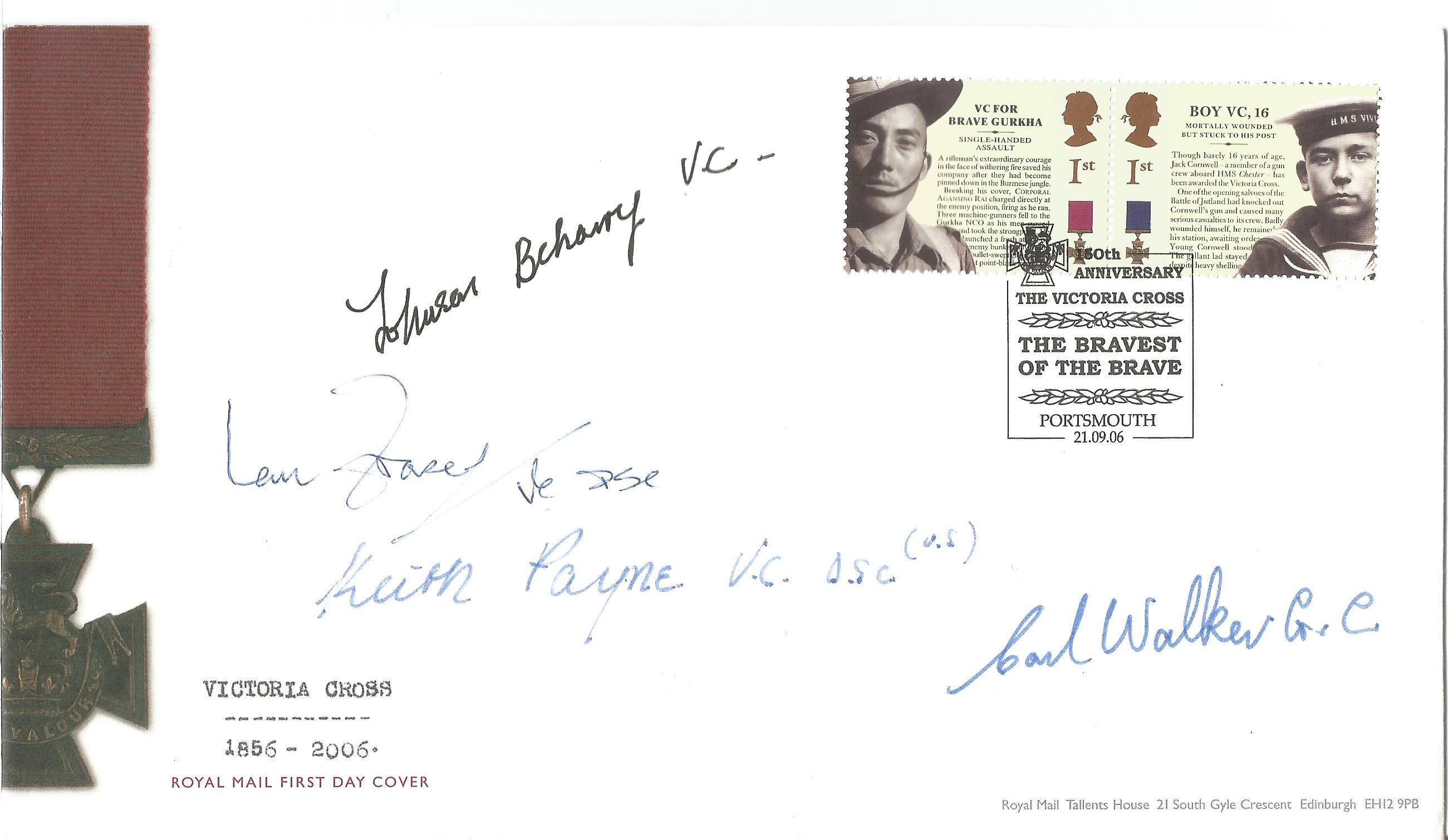 Victoria Cross winners multiple signed 2006 VC FDC. Signed by Johnson Beharry VC, Ian Fraser VC,