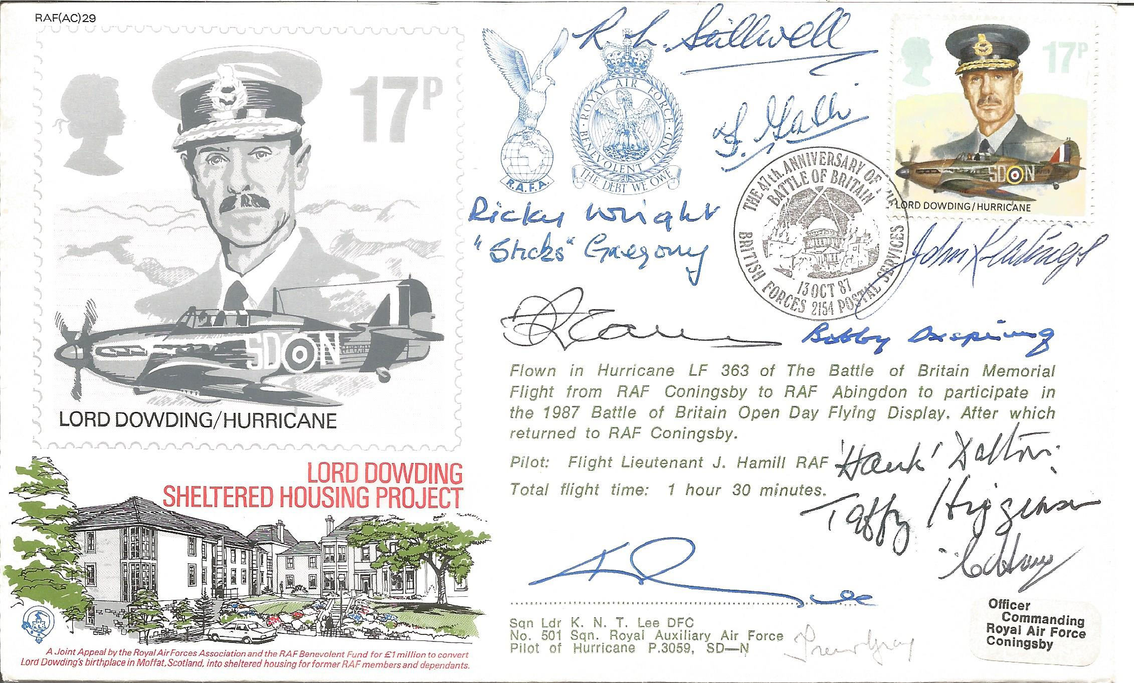 Ten BOB pilots signed RAF WW2 cover. Lord Dowding Hurricane signed RAF(AC)29 RAF cover Lord