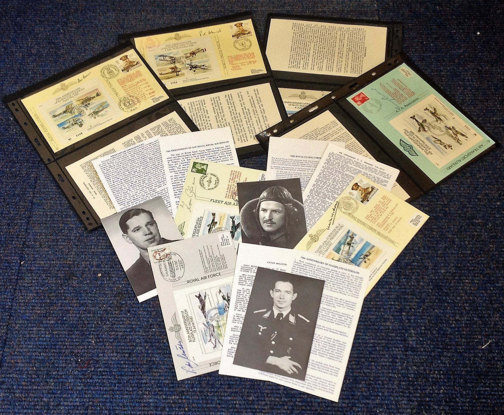 RAF collection 7 signed commemorative covers, and black and white photos and bio cards names include