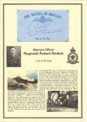 Warrant Officer Reginald Robert Stretch. Signed 5 x 3inch blue card with RAF logo. Set on superb