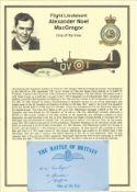 Flight Sergeant Alexander Noel MacGregor. Signed 5 x 3 inch blue card with RAF logo. Set on superb