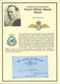 Lieutenant Commander Robert William Meade Walsh. Signed 5 x 3 inch blue card with RAF logo. Set on