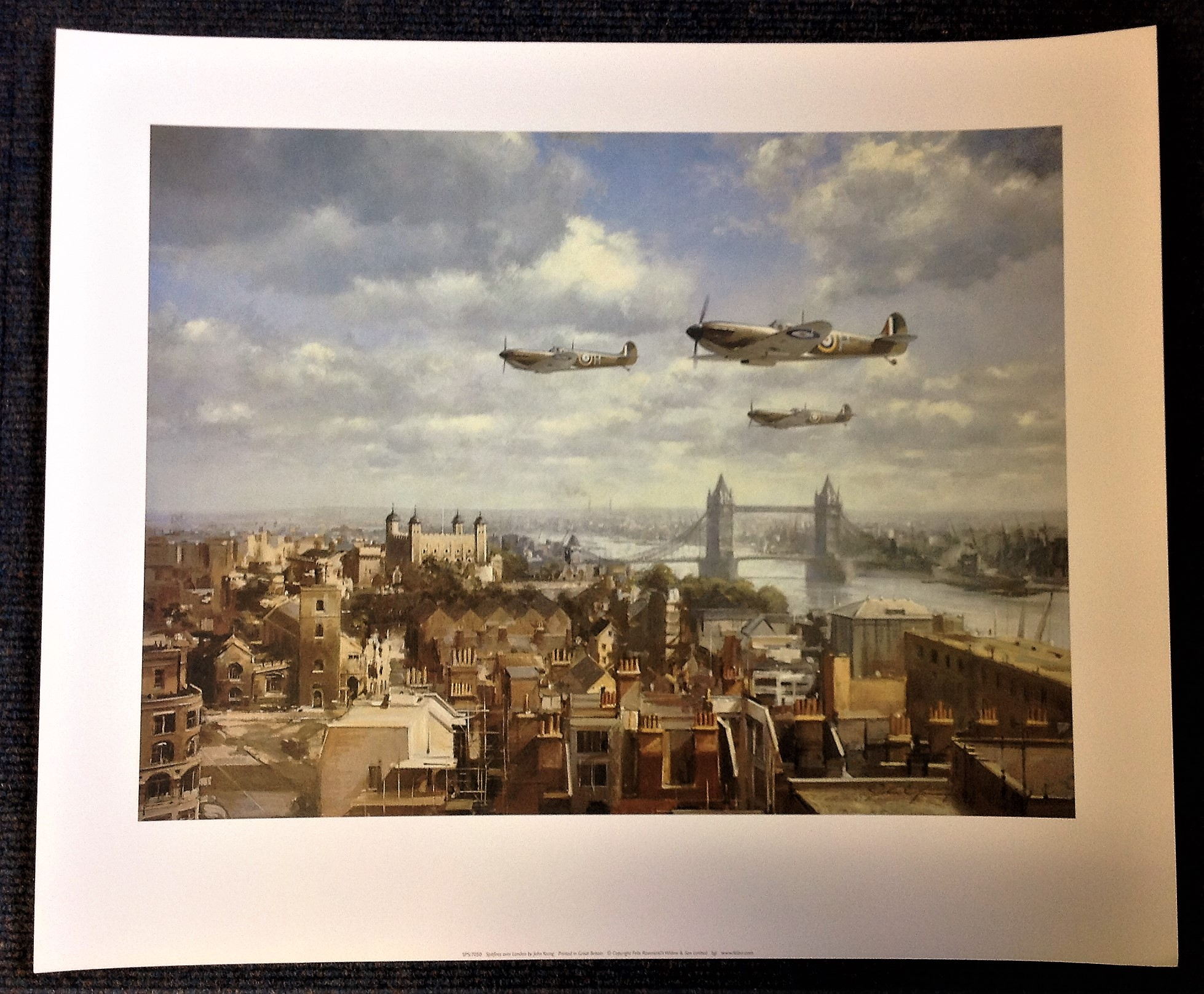Battle of Britain 20x24 print titled Spitfires over London by the artist John Young. Good Condition.