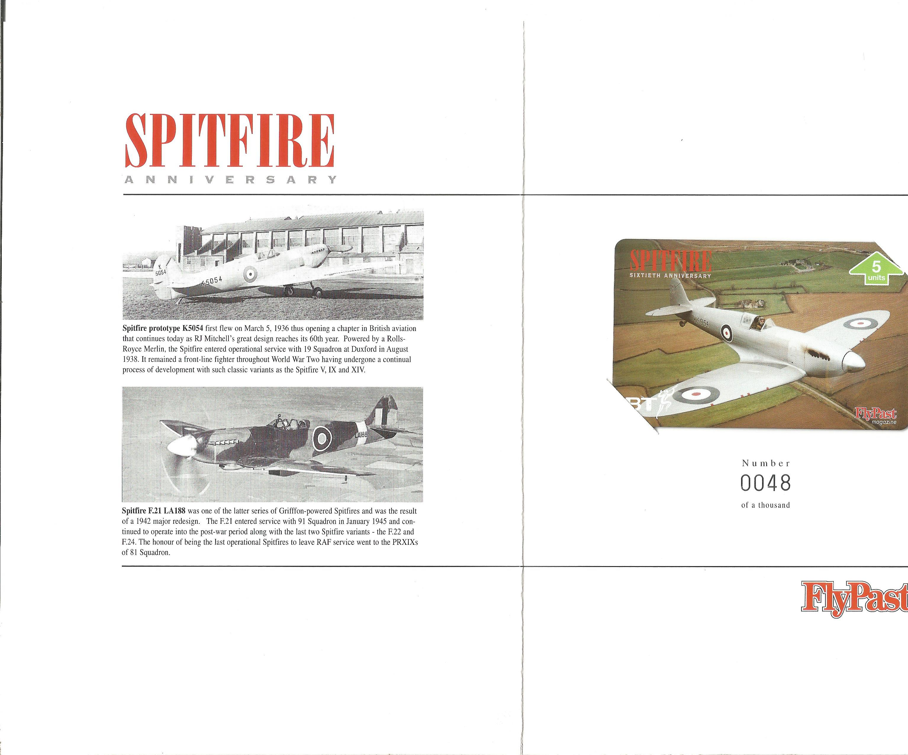 World War II phone card collection 2, limited edition includes Spitfire Anniversary sixty years 1936 - Image 2 of 2