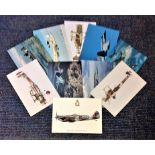 Aviation postcard collection includes 10 squadron print cards such as SE5A No56 Sqn RFC, Canadian CF